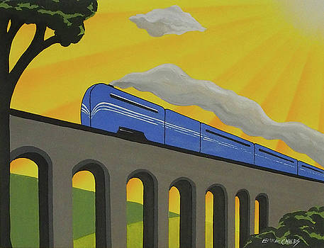 Art Deco Coronation Scot In Blue by Emma Childs