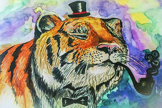 Art painting tiger with a smoking pipe by Anna Matveeva