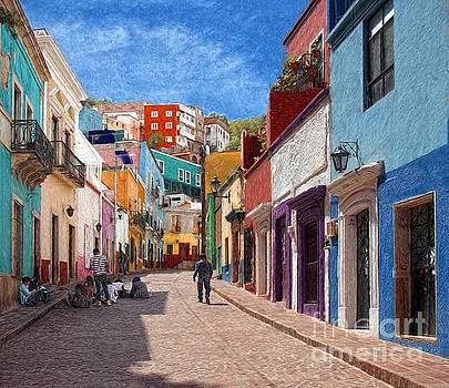 Art Students Drawing A Street In Guanajuato by John Kolenberg