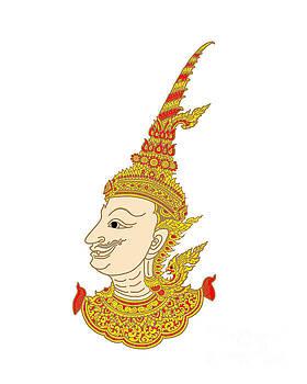 Art thai on wall in temple. illustration by Rasirote Buakeeree