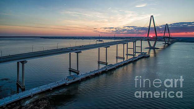 Arthur Ravenel Jr. Bridge Sunset by Robert Loe