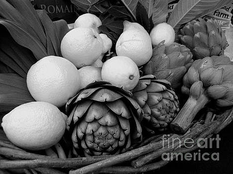 Artichokes With White Lemons And Oranges by James B Toy