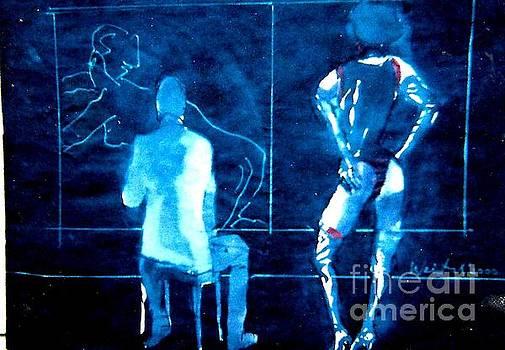 Artist  and Model in Blue  by Harry WEISBURD