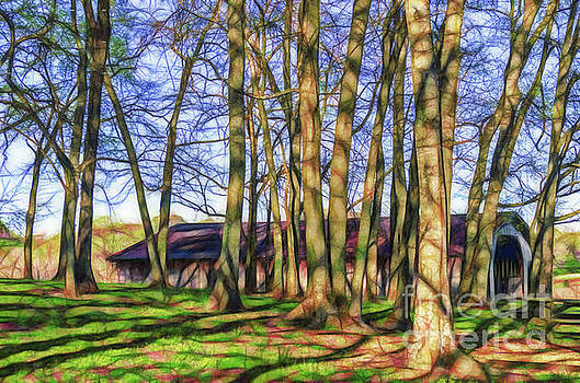 Artistic rendering barn through the trees Bells Bend Park by Jeffery Johnson