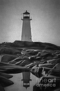 Dan Friend - Artistic scene of lighthouse at Peggys Cove