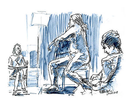 Frank Ramspott - Artists Figure Drawing Session Fountain Pen Ink And Watercolor
