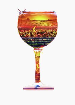 Artsy Wine Abstract Wine Glass and Vineyard by Stephanie Laird