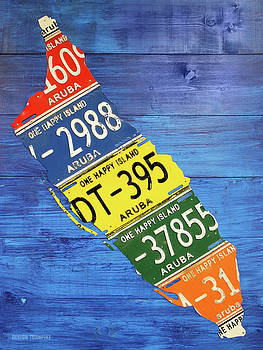 Aruba License Plate Map by Design Turnpike by Design Turnpike