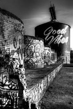 Asheville River Art Graffiti Black and White by Carol Montoya