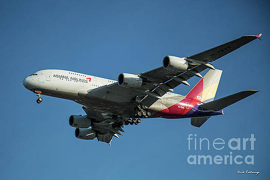 Reid Callaway - Asiana Airlines Airbus A380 H L 7625 Landing L A X Los Angeles Airplane Art