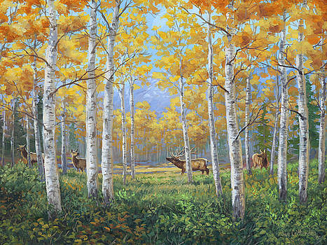 Aspen Meadow Courtship by Guy Crittenden