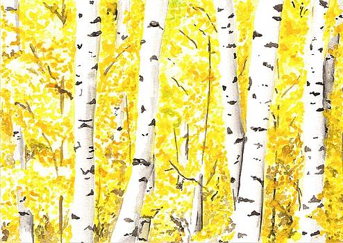 Aspens in the Fall by Anne Hockenberry