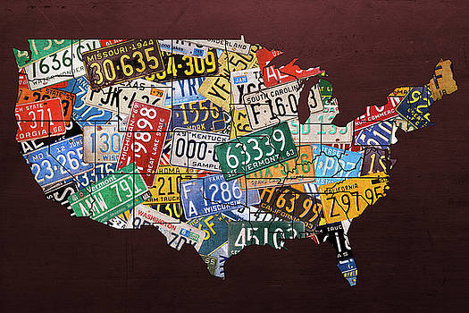 Assorted Vintage License Plates from Around America Map on Reddish Steel by Design Turnpike