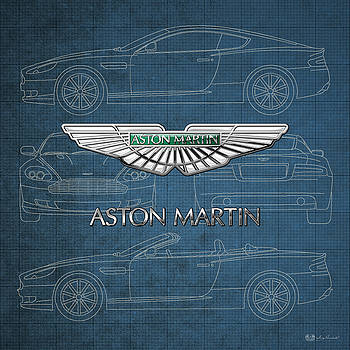 Serge Averbukh - Aston Martin 3 D Badge over Aston Martin D B 9 Blueprint
