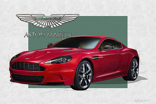 Aston Martin  D B S  V 12  with 3 D Badge  by Serge Averbukh