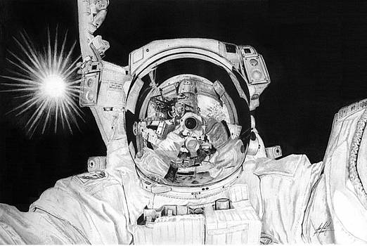 Astronaut Aki Hoshide EV Selfie On ISS Drawing by James Schultz