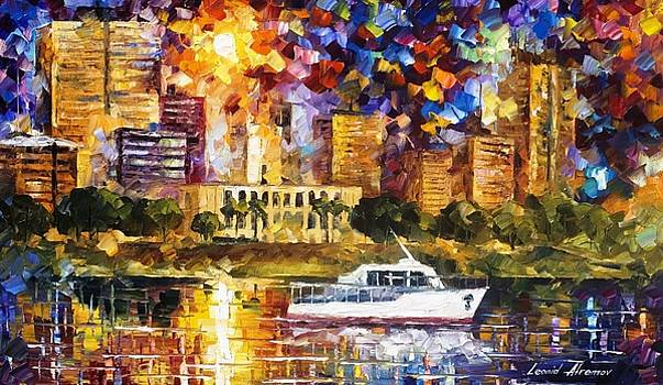 Asuncion Paraguay 2 - PALETTE KNIFE Oil Painting On Canvas By Leonid Afremov by Leonid Afremov