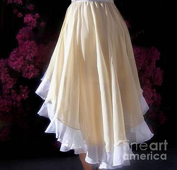Sofia Metal Queen - Asymmetrical skirt, beige-white. Ameynra fashion