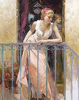 At the Balcony by Pino Daeni