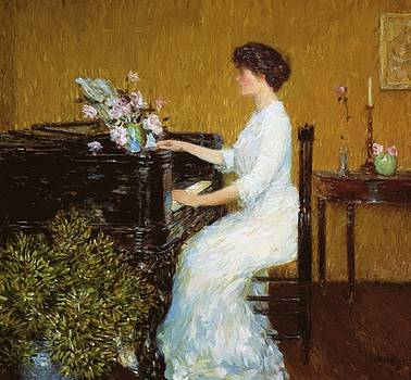 At The Piano by Hassam Childe