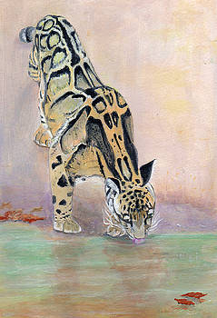 At The Waterhole - painting by Veronica Rickard