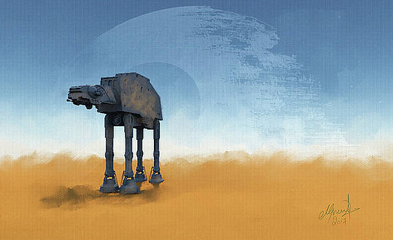 ATAT and Death Star over tattooine by Michael Greenaway