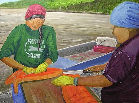 Athabaskan Women Cutting Salmon by Amy Reisland-Speer