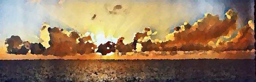Atlantic Ocean Sunset in oil  by Paulo Guimaraes