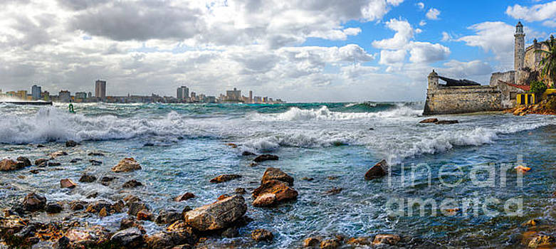 Atlantic waves hit Havana, Cuba by Jose Rey