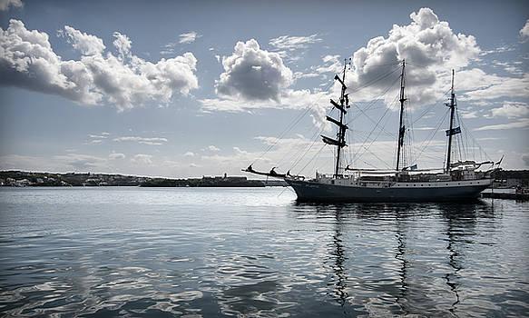 Pedro Cardona Llambias - atlantis - a three masts vessel in port mahon crystaline water
