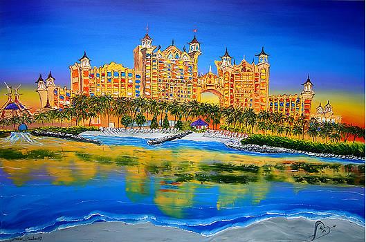 Atlantis City Lights Of Nassau Bahamas by Portland Art Creations