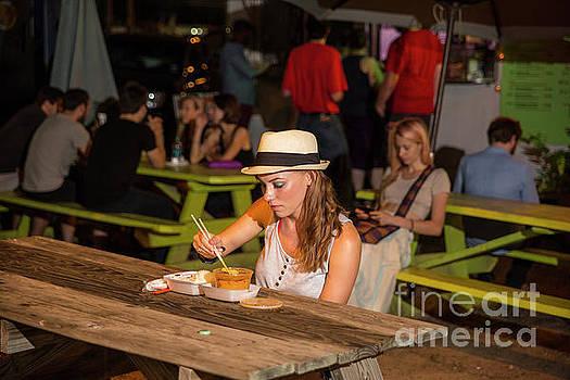 Herronstock Prints - Attractive Austin trendy hipster eats at an East Austin food trailer park