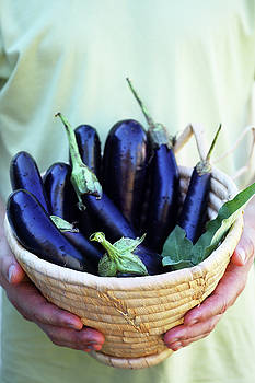 Aubergines in a basket by Iuliia Malivanchuk