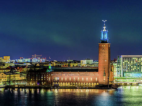 Aurora and the Stockholm City Hall by Dejan Kostic