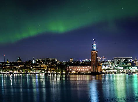 Aurora over the Stockholm City Hall and Kungsholmen by Dejan Kostic