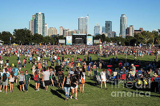 Herronstock Prints - Austin City Limits Music Festival main stage over looking the booming downtown Austin Skyline