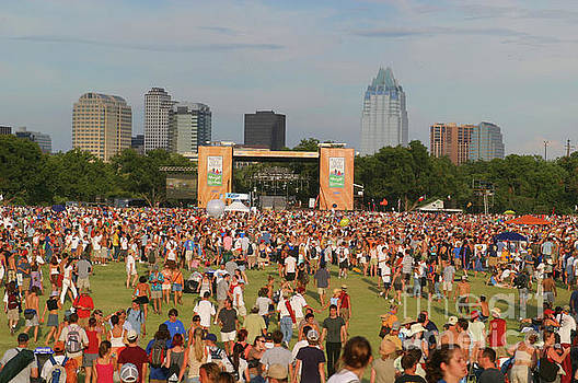 Herronstock Prints - Austin City Limits Music Festival Stage over looking the Frost Bank Tower Skycraper