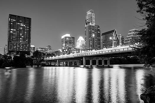 Austin City Skyline and Congress Bridge in Black and White by Gregory Ballos