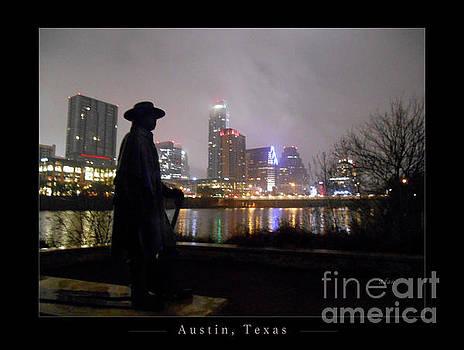 Felipe Adan Lerma - Austin Hike and Bike Trail - Iconic Austin Statue Stevie Ray Vaughn - One Greeting Card Poster