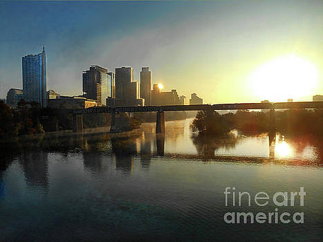 Felipe Adan Lerma - Austin Hike And Bike Trail - Pfluger Pedestrian Bridge - Fog Lifting Bright