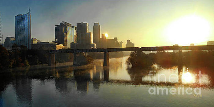 Felipe Adan Lerma - Austin Hike And Bike Trail - Pfluger Pedestrian Bridge - Fog Lifting Bright Panorama