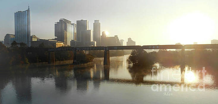 Felipe Adan Lerma - Austin Hike And Bike Trail - Pfluger Pedestrian Bridge - Fog Lifting Soft Panorama