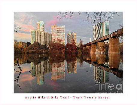 Felipe Adan Lerma - Austin Hike and Bike Trail - Train Trestle 1 Sunset Left Greeting Card Poster - Over Lady Bird Lake