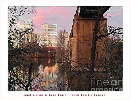 Felipe Adan Lerma - Austin Hike and Bike Trail - Train Trestle 1 Sunset Middle Greeting Card Poster - Over Lady Bird Lak