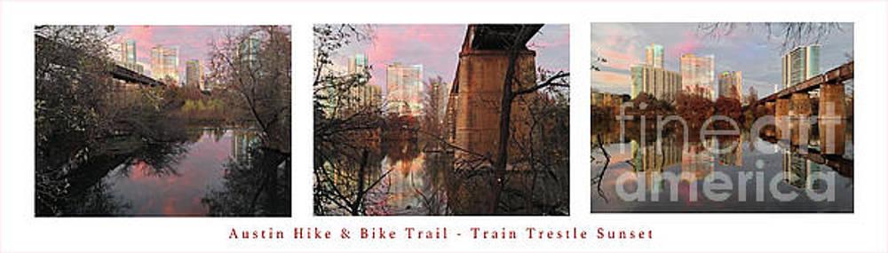 Felipe Adan Lerma - Austin Hike and Bike Trail - Train Trestle 1 Sunset Triptych Panorama