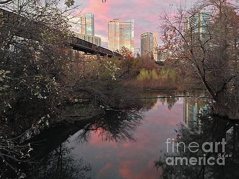 Felipe Adan Lerma - Austin Hike and Bike Trail - Train Trestle 1 Sunset Triptych Right