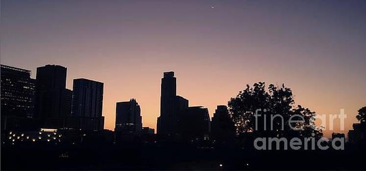 Felipe Adan Lerma - Austin Skyline Sunrise Into A Crescent Moon Panorma