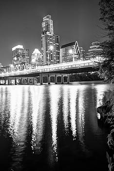 Austin Texas Black and White Skyline Night Reflections by Gregory Ballos