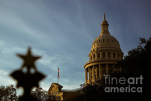 Herronstock Prints - Austin, Texas lone star gate with capitol in the background