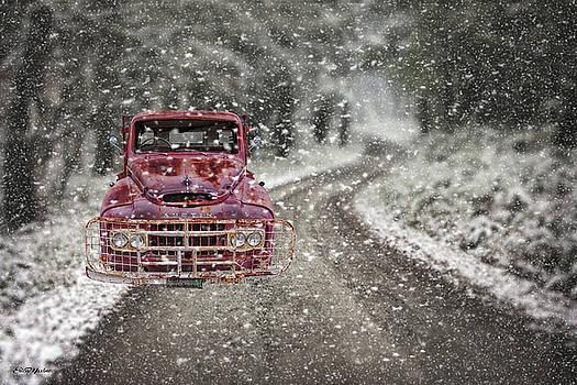 Austin Truck Stuck in Snow by Ericamaxine Price